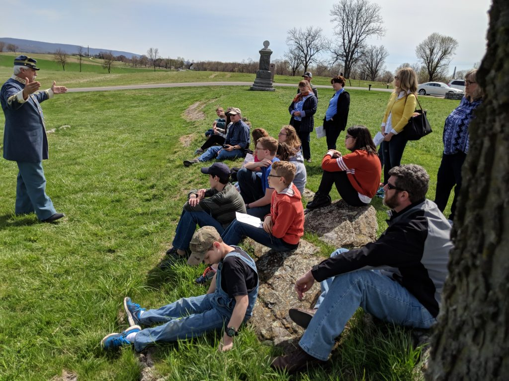 Classical Christian homeschooling students on a field outing with a focus on history