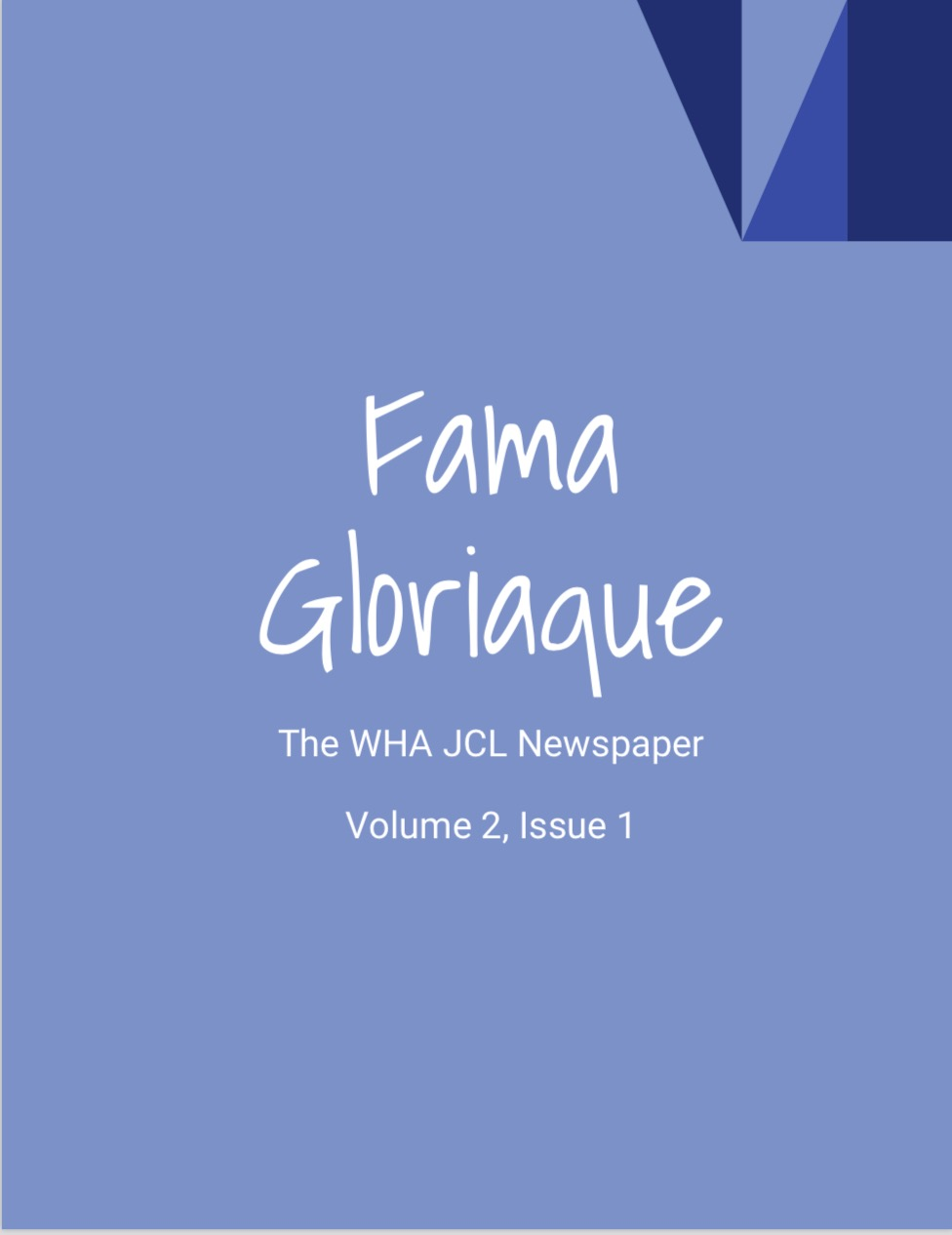 Cover of the WHA JCL newspaper, a publication run by our online homeschooling students